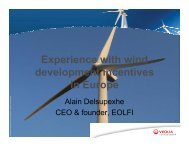Experience with wind development incentives in Europe