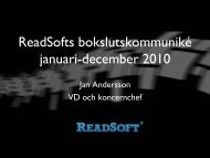 ReadSofts bokslutskommuniké januari-december 2010