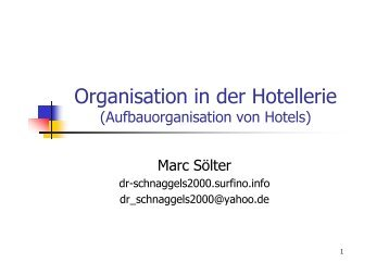 Organisation in der Hotellerie