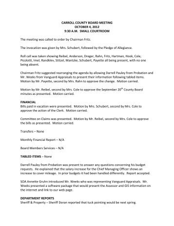October 4, 2012 County Board Meeting Minutes - Carroll County ...