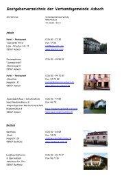 Gastgeberverzeichnis der Verbandsgemeinde Asbach