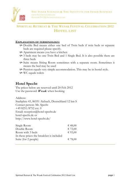 More Hotels For The Wesak 2012 Rev 2 Sh The Inner Sciences