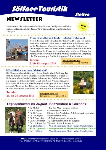 Termin - Söffner-Touristik