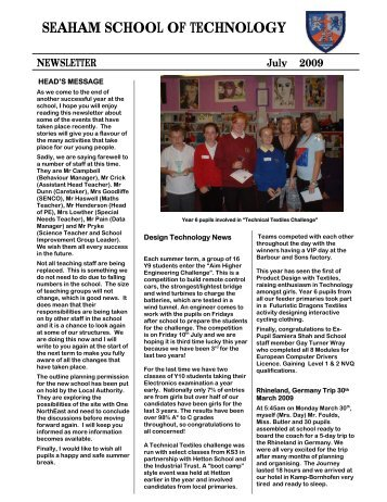 SEAHAM SCHOOL OF TECHNOLOGY NEWSLETTER July 2009
