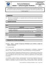 Termo de Referência ANEXO I – ESPECIFICAÇÕES TÉCNICAS