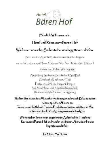 Herzlich Willkommen im Hotel und Restaurant Bären Hof! Wir freuen ...