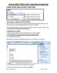 Access 2003 Office Links Importing & Exporting