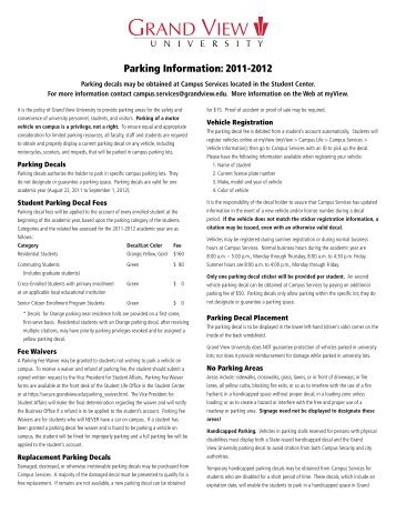 Parking Information 2011-2012