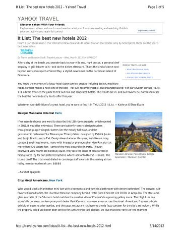 It List: The Best New Hotels 2012 - Starwood Hotels & Resorts