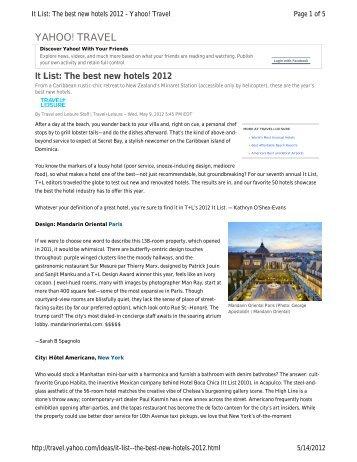 It List The Best New Hotels 2017 Starwood Resorts