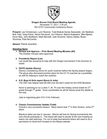 Draft Meeting Agenda - Oregon Soccer Club