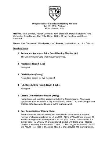 Draft Meeting Agenda - Oregon Soccer Club