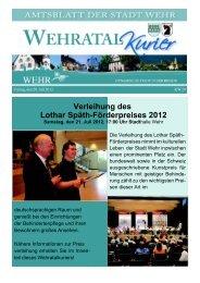 Verleihung des Lothar Späth-Förderpreises 2012 - Stadt Wehr, Baden