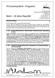 Berlin 20 Jahre Mauerfall - PS Incoming Berlin Programm