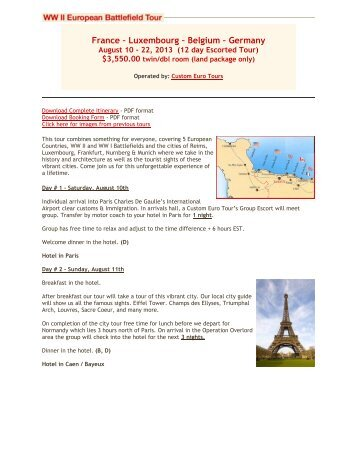 France – Luxembourg – Belgium – Germany - World War II Tours of ...