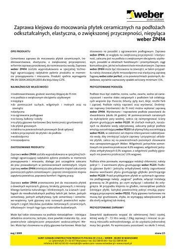 karta produktu - Chemia budowlana