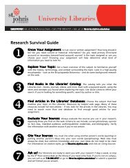 Research Survival Guide - Libraries - St. John's University