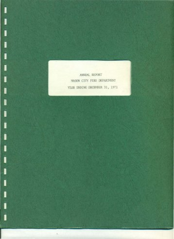 ANNUAL REPORT MASON CITY FIRE DEPARTMENT YEAR ENDING DECEMBER 31 1971