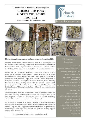 Project newsletter October 2012 - Southwell and Nottingham Church ...