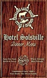 Dinner Menu - Hotel Solsville