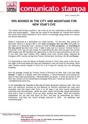 90% booked in the city and mountains for new ... - Turismo Torino