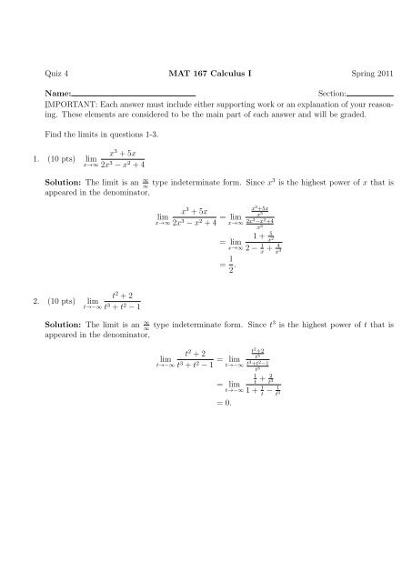 MAT 167 – Quiz 4 w Solutions – Calculus 1 - We Tall Did Test Bank