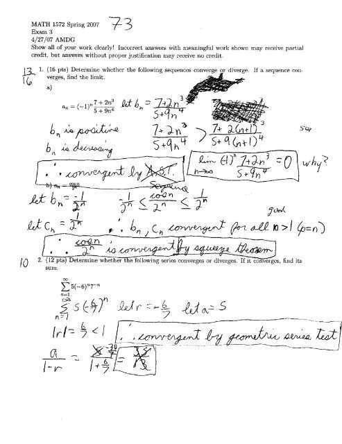 Math 1572 Calculus 2 Exam 3 - We Tall Did Test Bank