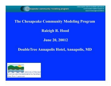 CCMP Activities - Raleigh Hood - Chesapeake Research Consortium