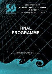Conference on MODELLING FLUID FLOW September 4 ... - CMFF'12