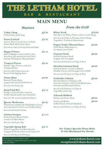 Bothwell Bridge Hotel Menu