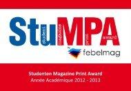 Studenten Magazine Print Award Année Académique 2012 - 2013