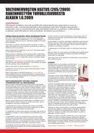 valtioneuvoSton aSetuS (205/2009) rakennuStyÖn turvalliSuuDeSta alkaen 1.6.2009