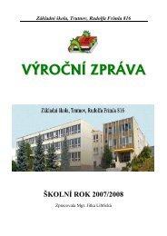 Výroční zpráva za školní rok 2007/2008 - Základní škola Trutnov ...