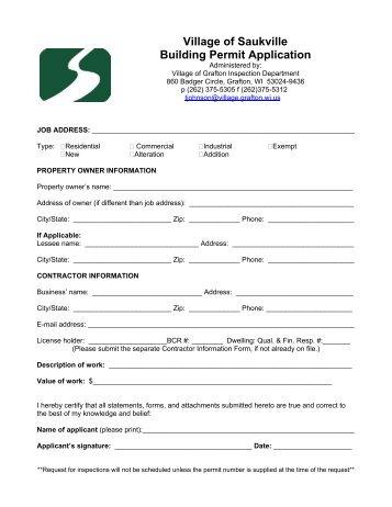Village of Saukville Building Permit Application