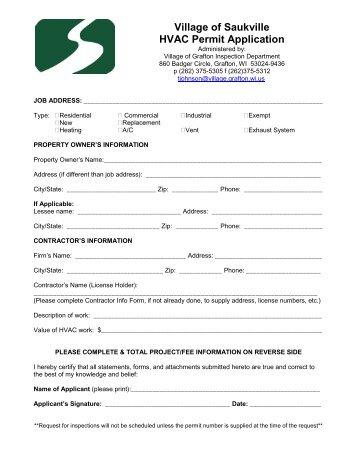 Village of Saukville HVAC Permit Application