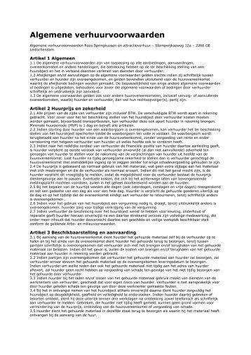 Algemene verhuurvoorwaarden - Roos Springkussens