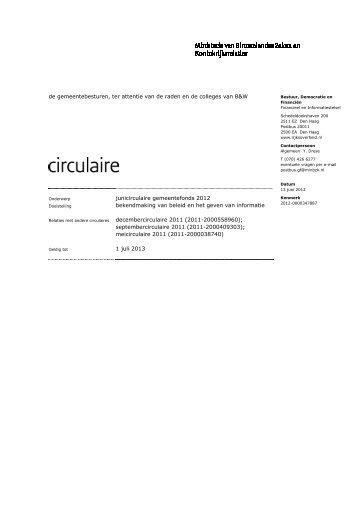 Junicirculaire gemeentefonds 2012 - Sport en bewegen in de Buurt