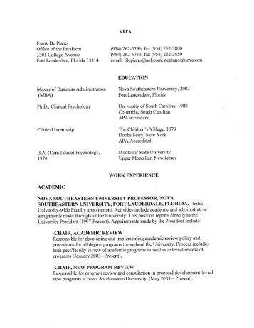 Curriculum Vitae - Center for Psychological Studies - Nova ...