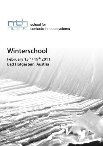 Monday 14th - NTH - School for Contacts in Nanosystems
