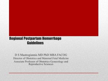 Regional Postpartum Hemorrhage Guidelines