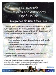 UC Riverside Physics and Astronomy Open House