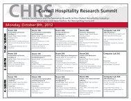 CHRSCornell Hospitality Research Summit - Cornell School of Hotel ...