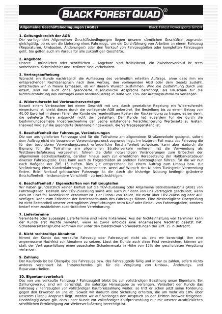 BLACK FOREST QUAD ® - Allgemeine Geschäftsbedingungen (AGB)
