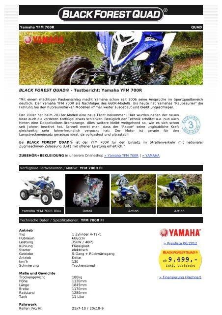 BLACK FOREST QUAD ® - Yamaha YFM 700R