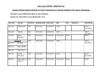 2012-2013 eğitim - Hasan Doğan Beden Eğitimi ve Spor Yüksekokulu