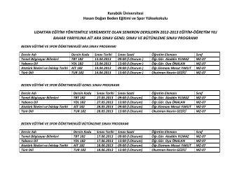 Karabük Üniversitesi Hasan Doğan Beden Eğitimi ve Spor ...
