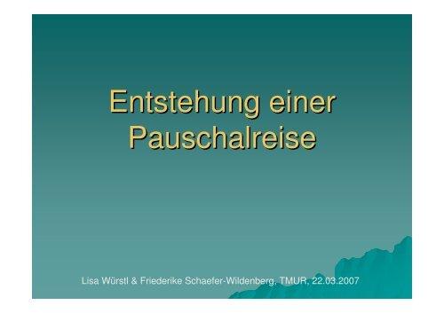 Die Entstehung einer Pauschalreise - Klessheim