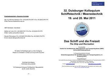 32. Duisburger Kolloquium Schiffstechnik / Meerestechnik 19. und ...