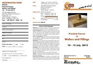 Practical Course in Wafers and Fillings 10 - 12 July, 2012
