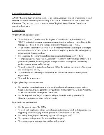 Profile And Job Description SecretaryReceptionist  Consortium Of
